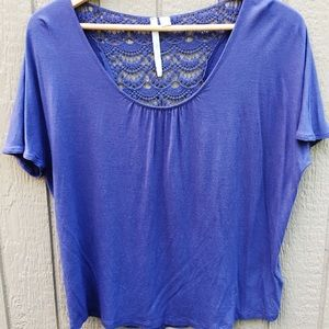 Lauren Conrad PLUM Short Sleeve Shirt w Crochet -L